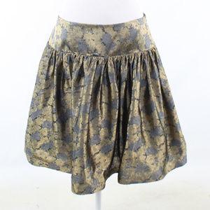 David Meister gold floral print full skirt 12